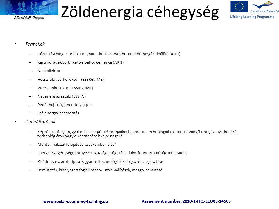 ARIADNE Project Agreement number: 2010-1-FR1-LEO05-14505 www.social-economy-training.eu Agreement number: 2010-1-FR1-LEO05-14505 www.social-economy-training.eu Zöldenergia céhegység • Termékek – Háztartási biogáz-telep.
