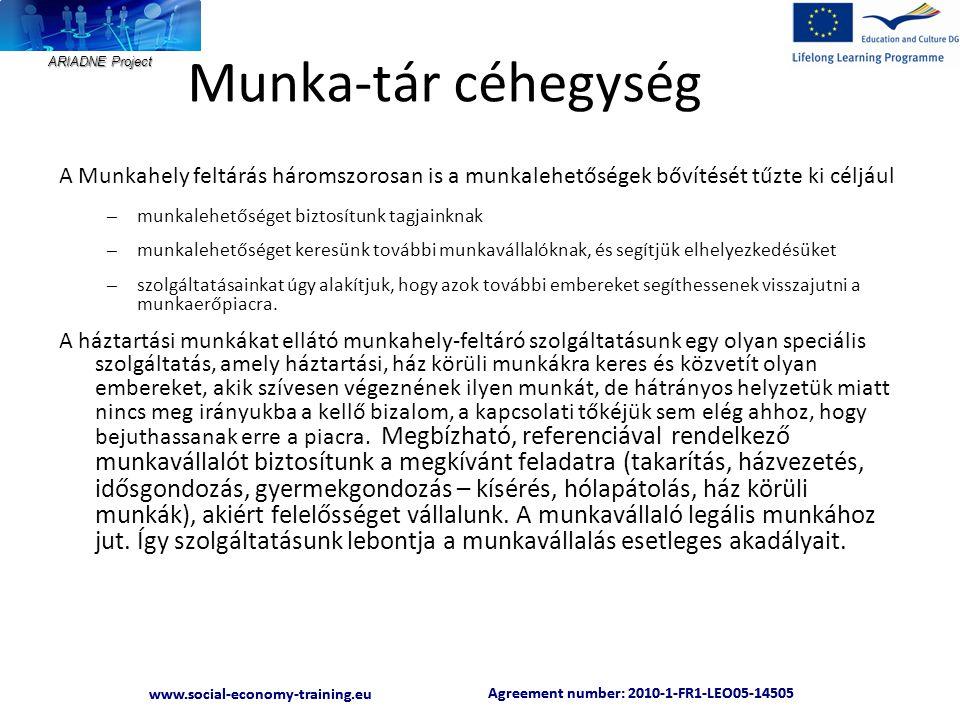 ARIADNE Project Agreement number: 2010-1-FR1-LEO05-14505 www.social-economy-training.eu Agreement number: 2010-1-FR1-LEO05-14505 www.social-economy-training.eu Munka-tár céhegység A Munkahely feltárás háromszorosan is a munkalehetőségek bővítését tűzte ki céljául – munkalehetőséget biztosítunk tagjainknak – munkalehetőséget keresünk további munkavállalóknak, és segítjük elhelyezkedésüket – szolgáltatásainkat úgy alakítjuk, hogy azok további embereket segíthessenek visszajutni a munkaerőpiacra.