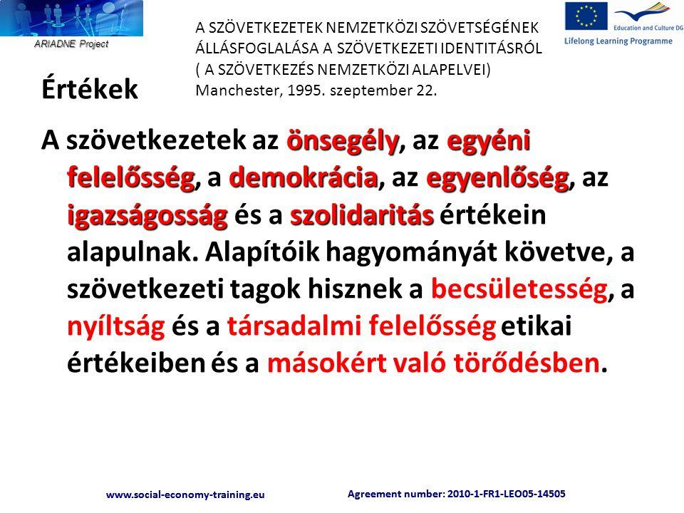 ARIADNE Project Agreement number: 2010-1-FR1-LEO05-14505 www.social-economy-training.eu Agreement number: 2010-1-FR1-LEO05-14505 www.social-economy-training.eu A SZÖVETKEZETEK NEMZETKÖZI SZÖVETSÉGÉNEK ÁLLÁSFOGLALÁSA A SZÖVETKEZETI IDENTITÁSRÓL ( A SZÖVETKEZÉS NEMZETKÖZI ALAPELVEI) Manchester, 1995.