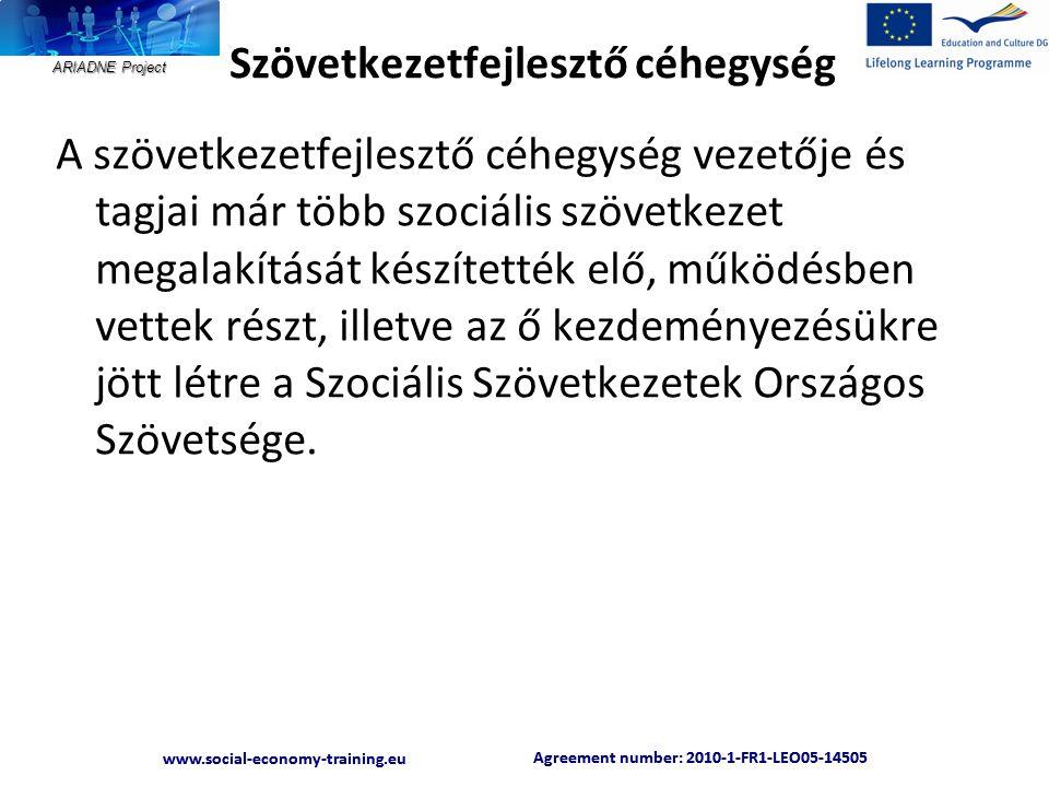 ARIADNE Project Agreement number: 2010-1-FR1-LEO05-14505 www.social-economy-training.eu Agreement number: 2010-1-FR1-LEO05-14505 www.social-economy-training.eu Szövetkezetfejlesztő céhegység A szövetkezetfejlesztő céhegység vezetője és tagjai már több szociális szövetkezet megalakítását készítették elő, működésben vettek részt, illetve az ő kezdeményezésükre jött létre a Szociális Szövetkezetek Országos Szövetsége.
