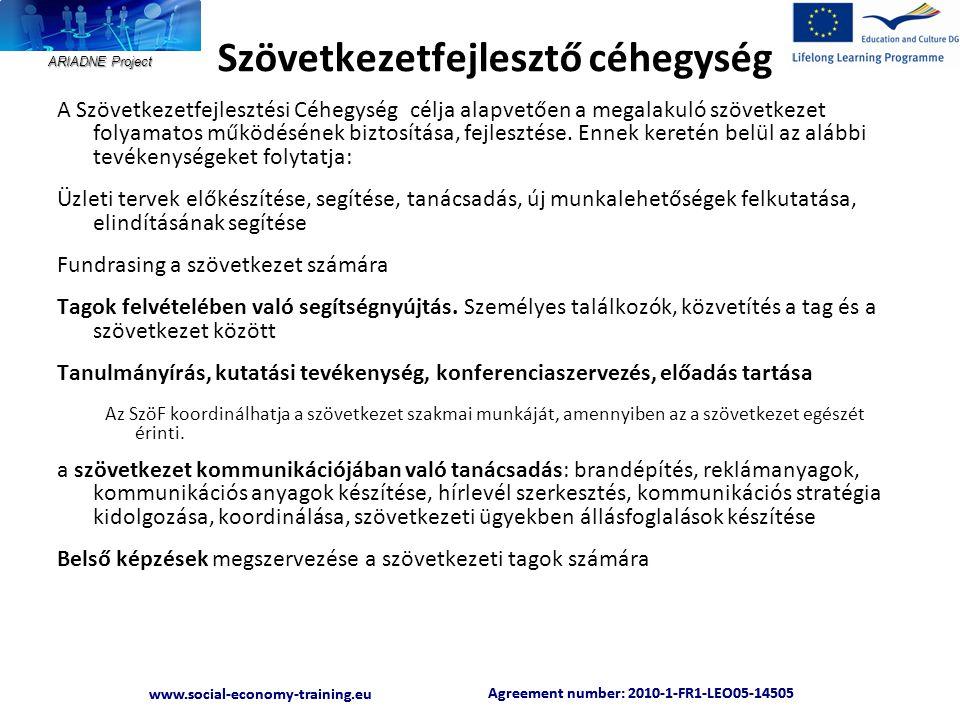 ARIADNE Project Agreement number: 2010-1-FR1-LEO05-14505 www.social-economy-training.eu Agreement number: 2010-1-FR1-LEO05-14505 www.social-economy-training.eu Szövetkezetfejlesztő céhegység A Szövetkezetfejlesztési Céhegység célja alapvetően a megalakuló szövetkezet folyamatos működésének biztosítása, fejlesztése.