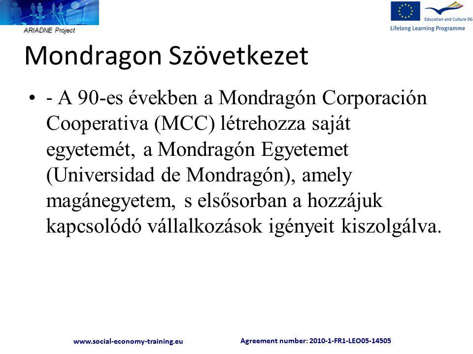 ARIADNE Project Agreement number: 2010-1-FR1-LEO05-14505 www.social-economy-training.eu Agreement number: 2010-1-FR1-LEO05-14505 www.social-economy-training.eu Mondragon Szövetkezet • - A 90-es években a Mondragón Corporación Cooperativa (MCC) létrehozza saját egyetemét, a Mondragón Egyetemet (Universidad de Mondragón), amely magánegyetem, s elsősorban a hozzájuk kapcsolódó vállalkozások igényeit kiszolgálva.