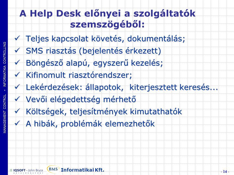 MANAGEMENT CONTROL - INFORMATIKA CONTROLLING - 14 - Informatikai Kft.