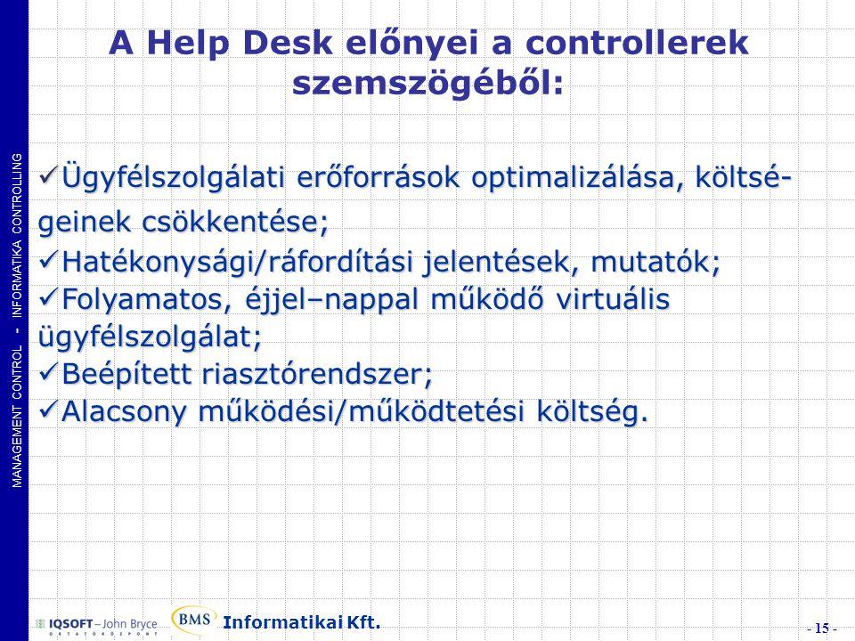 MANAGEMENT CONTROL - INFORMATIKA CONTROLLING - 15 - Informatikai Kft.