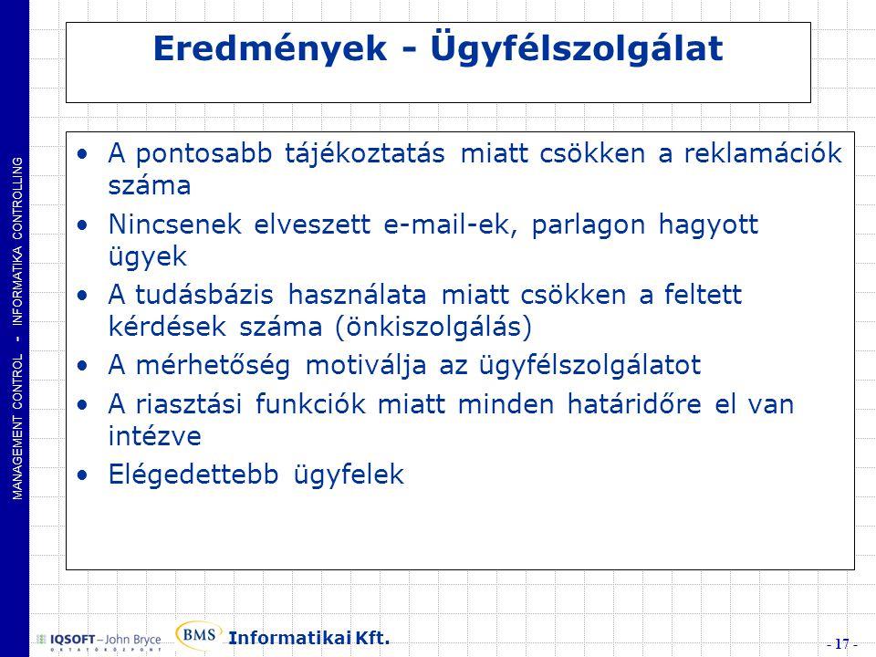 MANAGEMENT CONTROL - INFORMATIKA CONTROLLING - 17 - Informatikai Kft.