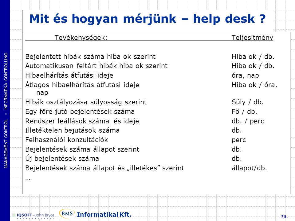 MANAGEMENT CONTROL - INFORMATIKA CONTROLLING - 20 - Informatikai Kft.