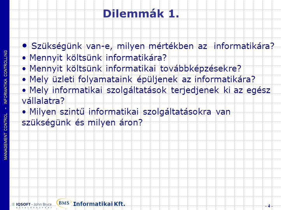 MANAGEMENT CONTROL - INFORMATIKA CONTROLLING - 4 - Informatikai Kft.