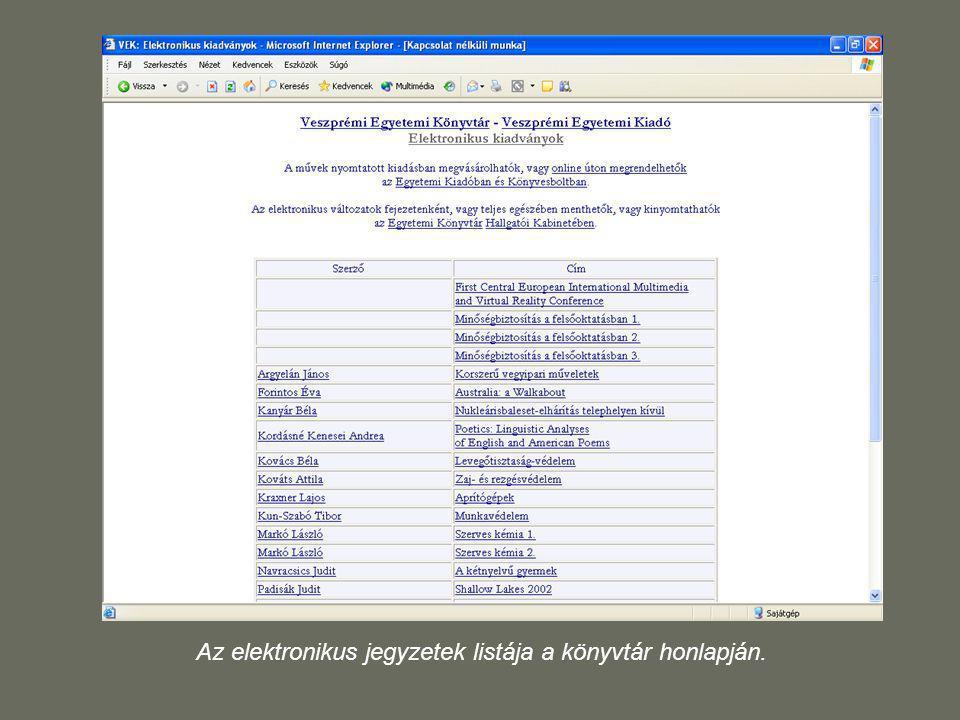 Az elektronikus jegyzetek listája a könyvtár honlapján.