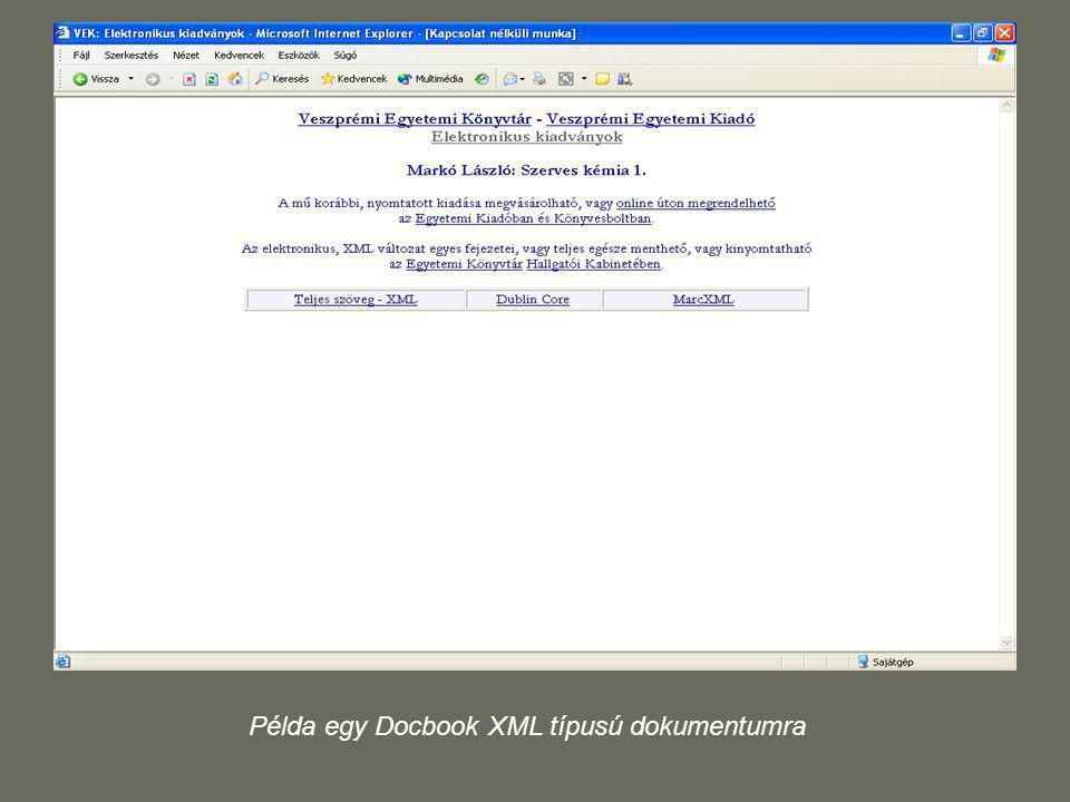 Példa egy Docbook XML típusú dokumentumra