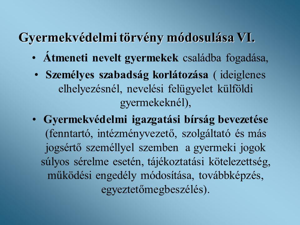 Gyermekvédelmi törvény módosulása VI.