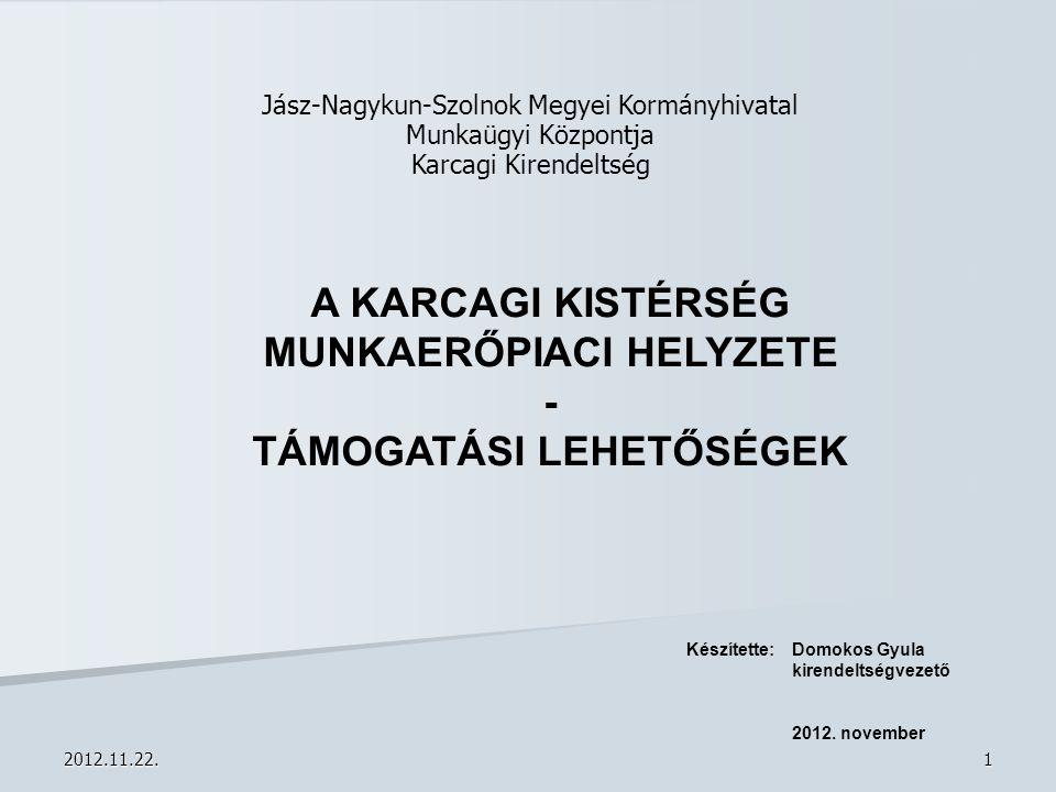 2012.11.22.22 Munkaerőpiaci képzés  Megalapozott képzési terv  Heterogén képzési igény  Pályáztatási rendszer a képző intézmények számára  Monitoring: 60-80 %-os elhelyezkedési arány  Humánszolgáltatással kombinált képzések (különösen a hátrányos helyzetű rétegeknek)  2012-ben 61 tanfolyam a megyében –55 TÁMOP 1.1.2.