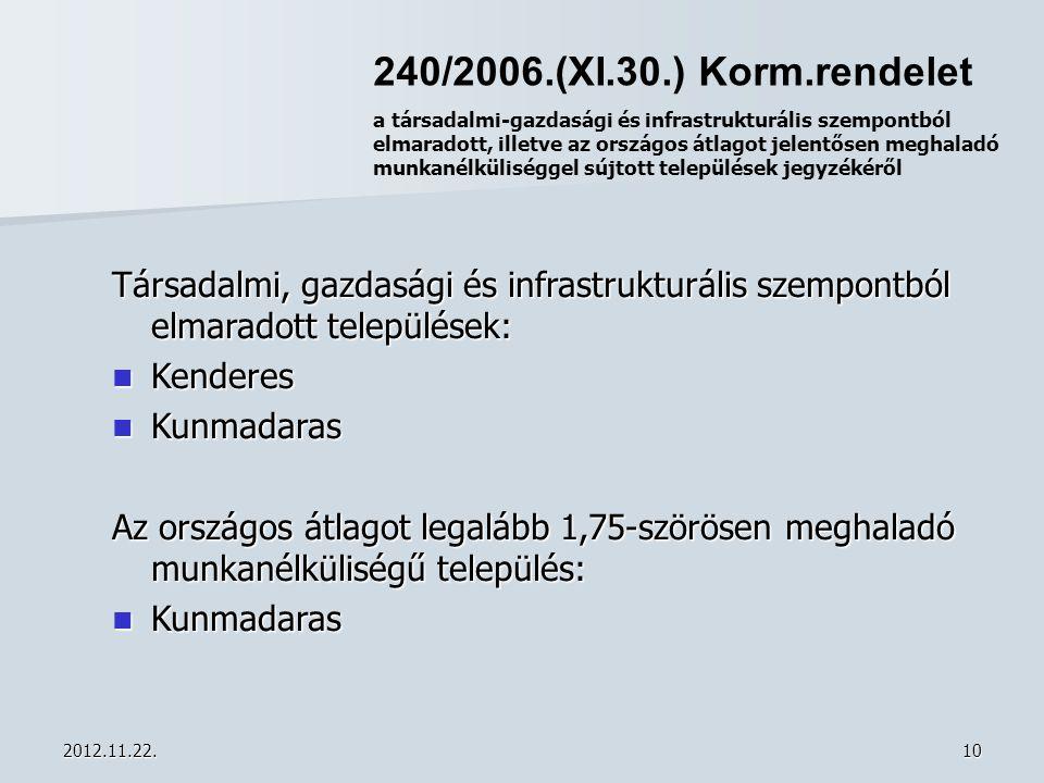 2012.11.22.10 240/2006.(XI.30.) Korm.rendelet a társadalmi-gazdasági és infrastrukturális szempontból elmaradott, illetve az országos átlagot jelentős