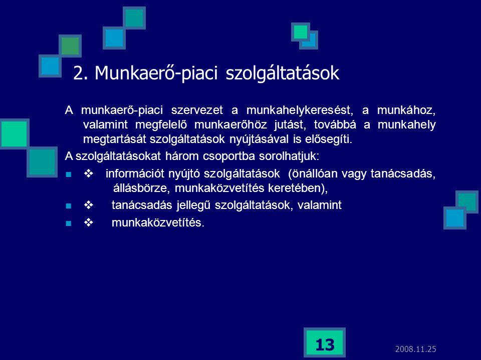 2008.11.25 13 2. Munkaerő-piaci szolgáltatások A munkaerő-piaci szervezet a munkahelykeresést, a munkához, valamint megfelelő munkaerőhöz jutást, tová
