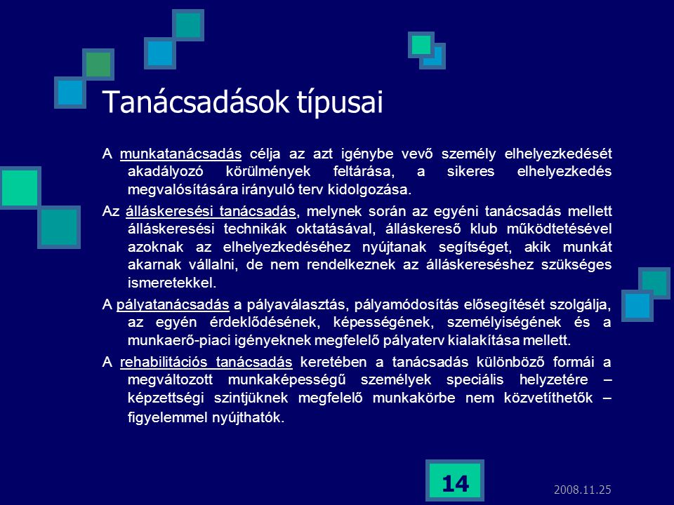 2008.11.25 14 Tanácsadások típusai A munkatanácsadás célja az azt igénybe vevő személy elhelyezkedését akadályozó körülmények feltárása, a sikeres elh