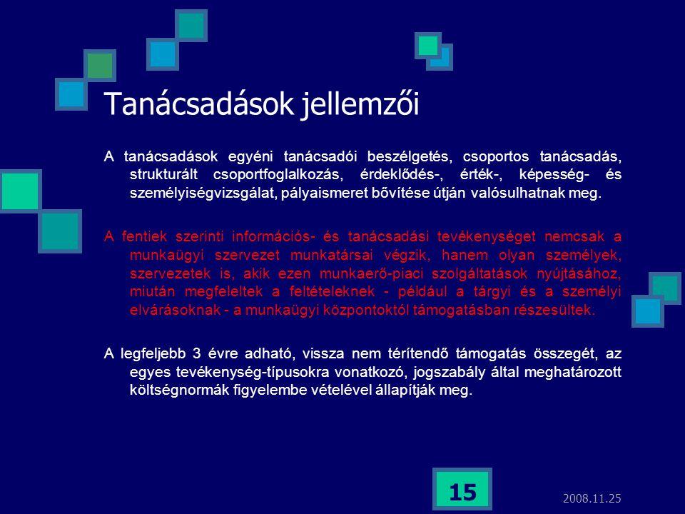 2008.11.25 15 Tanácsadások jellemzői A tanácsadások egyéni tanácsadói beszélgetés, csoportos tanácsadás, strukturált csoportfoglalkozás, érdeklődés-,