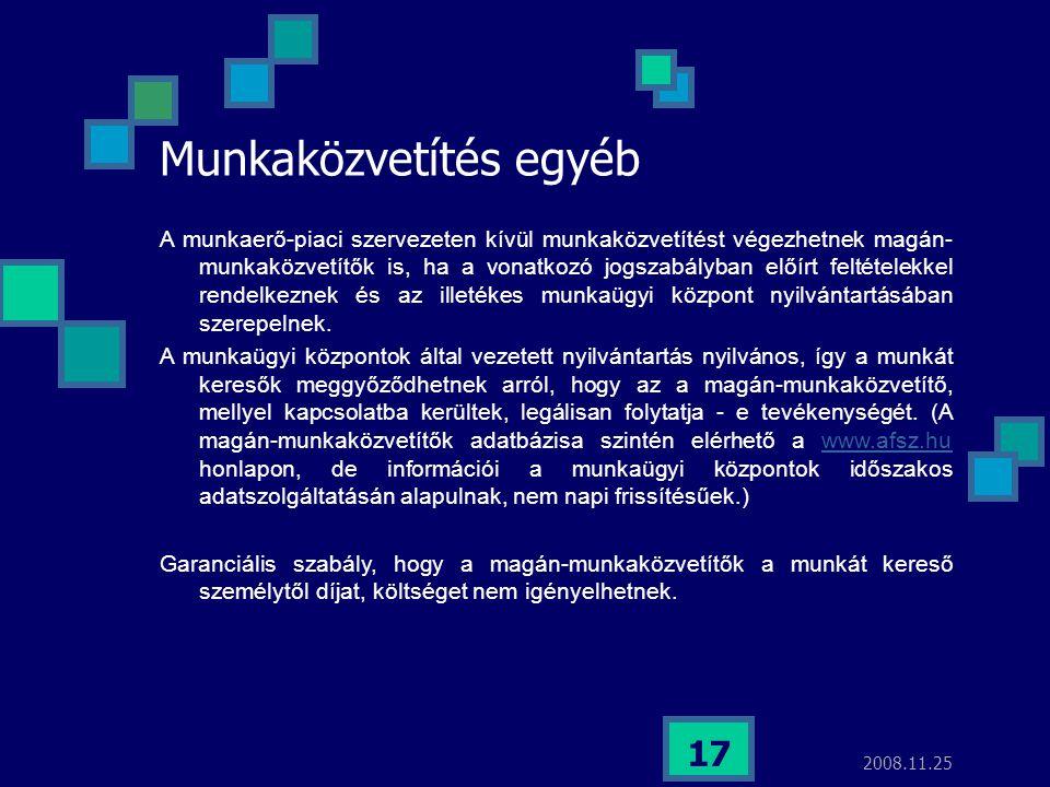 2008.11.25 17 Munkaközvetítés egyéb A munkaerő-piaci szervezeten kívül munkaközvetítést végezhetnek magán- munkaközvetítők is, ha a vonatkozó jogszabá