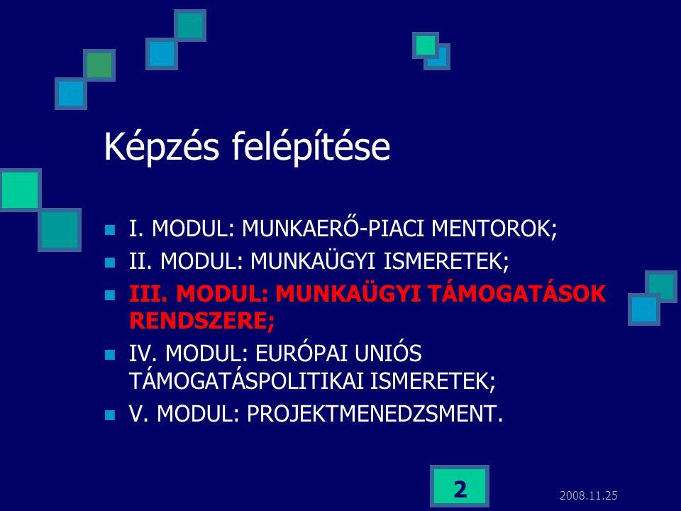 2008.11.25 2 Képzés felépítése  I. MODUL: MUNKAERŐ-PIACI MENTOROK;  II. MODUL: MUNKAÜGYI ISMERETEK;  III. MODUL: MUNKAÜGYI TÁMOGATÁSOK RENDSZERE; 