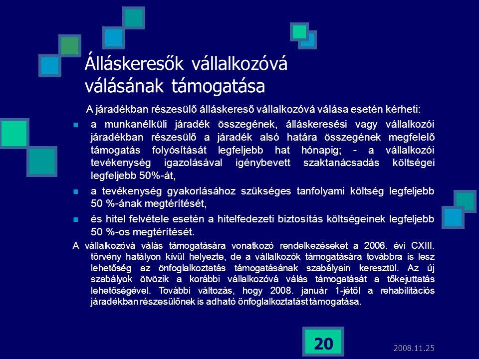 2008.11.25 20 Álláskeresők vállalkozóvá válásának támogatása A járadékban részesülő álláskereső vállalkozóvá válása esetén kérheti:  a munkanélküli j