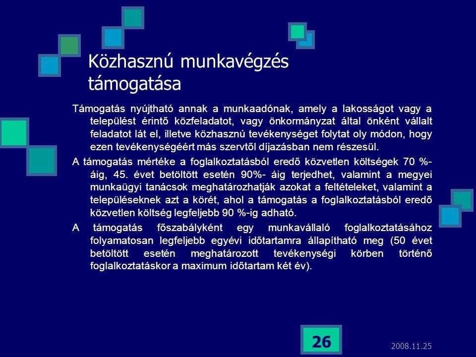 2008.11.25 26 Közhasznú munkavégzés támogatása Támogatás nyújtható annak a munkaadónak, amely a lakosságot vagy a települést érintő közfeladatot, vagy