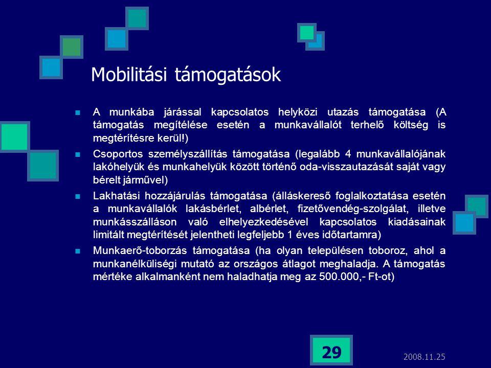 2008.11.25 29 Mobilitási támogatások  A munkába járással kapcsolatos helyközi utazás támogatása (A támogatás megítélése esetén a munkavállalót terhel