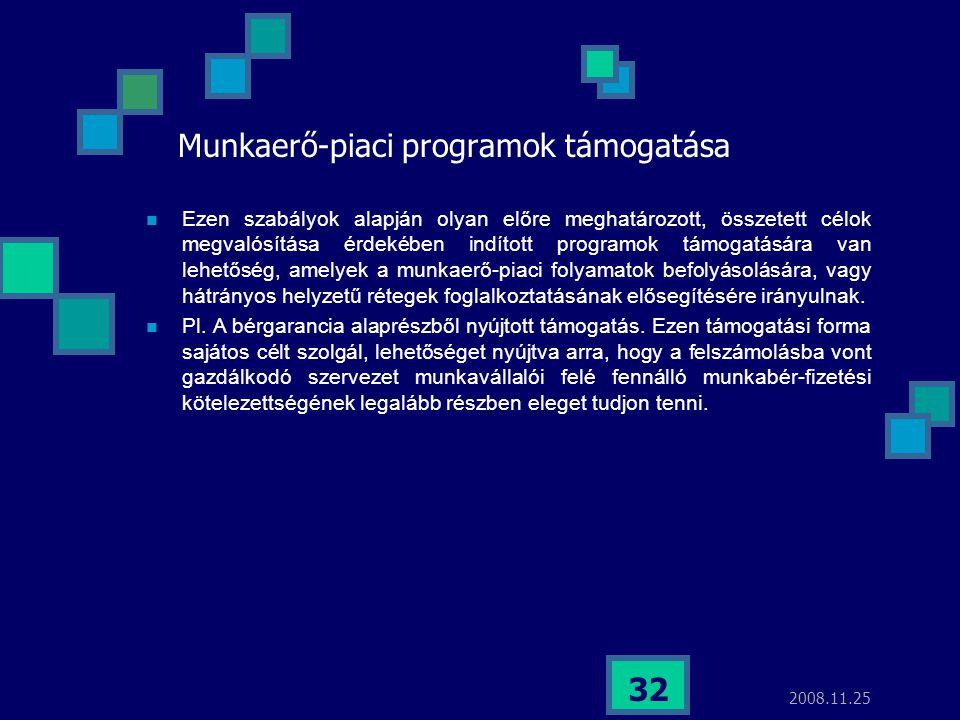2008.11.25 32 Munkaerő-piaci programok támogatása  Ezen szabályok alapján olyan előre meghatározott, összetett célok megvalósítása érdekében indított