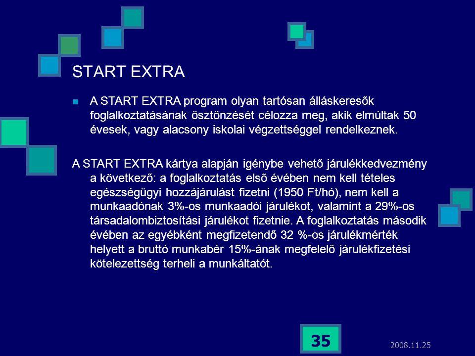 2008.11.25 35 START EXTRA  A START EXTRA program olyan tartósan álláskeresők foglalkoztatásának ösztönzését célozza meg, akik elmúltak 50 évesek, vag