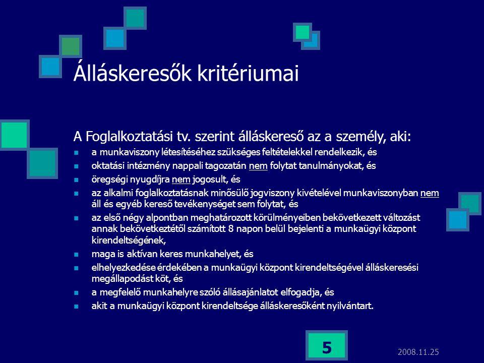 2008.11.25 5 Álláskeresők kritériumai A Foglalkoztatási tv. szerint álláskereső az a személy, aki:  a munkaviszony létesítéséhez szükséges feltételek