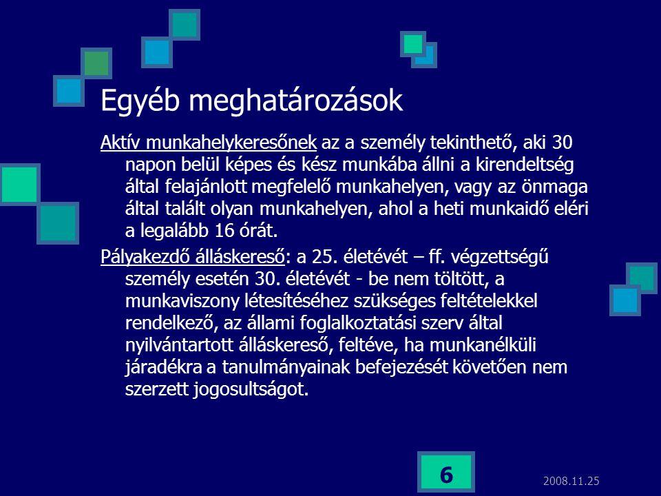2008.11.25 6 Egyéb meghatározások Aktív munkahelykeresőnek az a személy tekinthető, aki 30 napon belül képes és kész munkába állni a kirendeltség álta