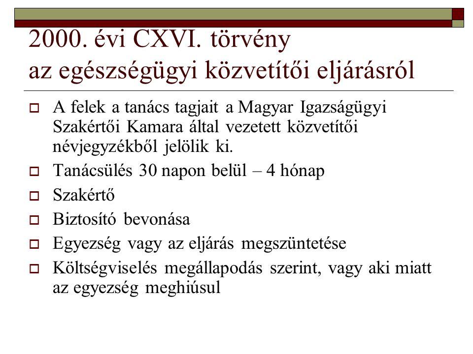 2000. évi CXVI. törvény az egészségügyi közvetítői eljárásról  A felek a tanács tagjait a Magyar Igazságügyi Szakértői Kamara által vezetett közvetít