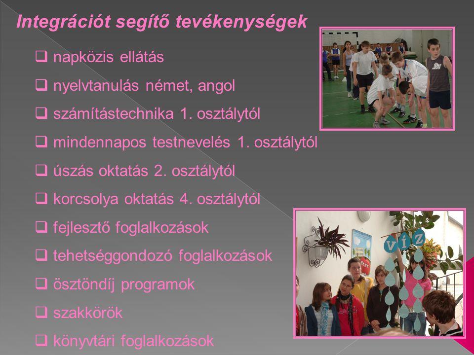 Integrációt segítő tevékenységek  napközis ellátás  nyelvtanulás német, angol  számítástechnika 1. osztálytól  mindennapos testnevelés 1. osztályt