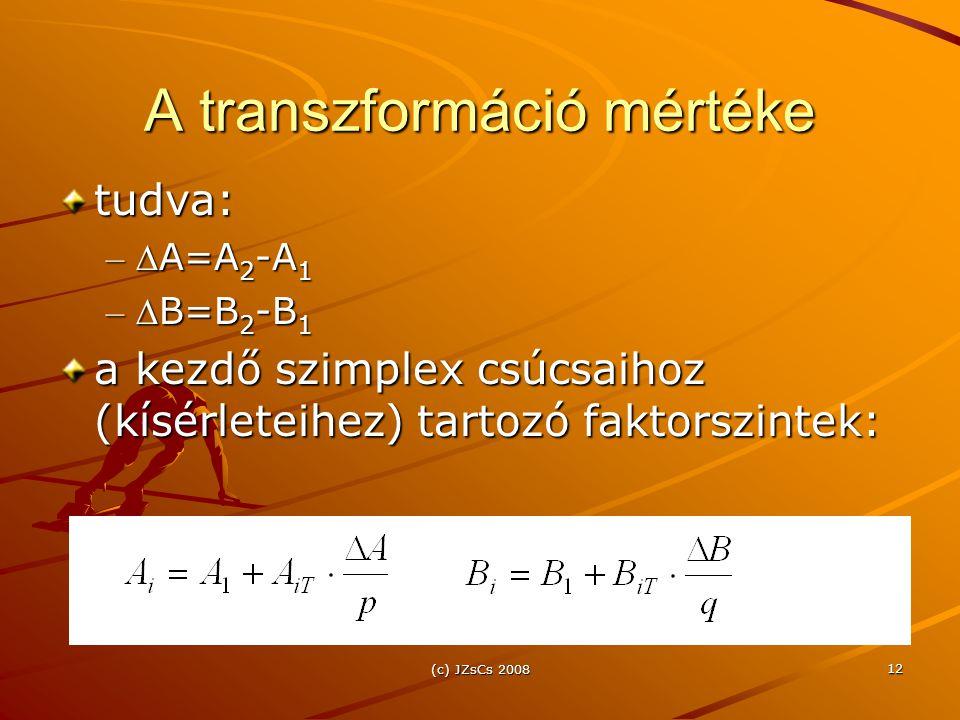 (c) JZsCs 2008 12 A transzformáció mértéke tudva: – A=A 2 -A 1 – B=B 2 -B 1 a kezdő szimplex csúcsaihoz (kísérleteihez) tartozó faktorszintek: