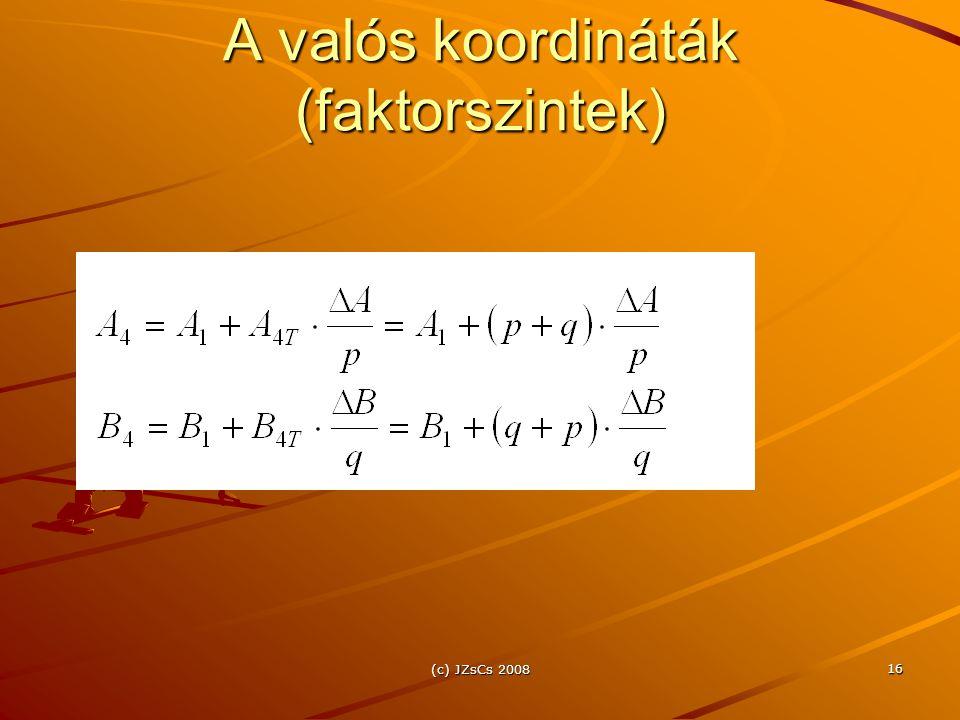 (c) JZsCs 2008 16 A valós koordináták (faktorszintek)