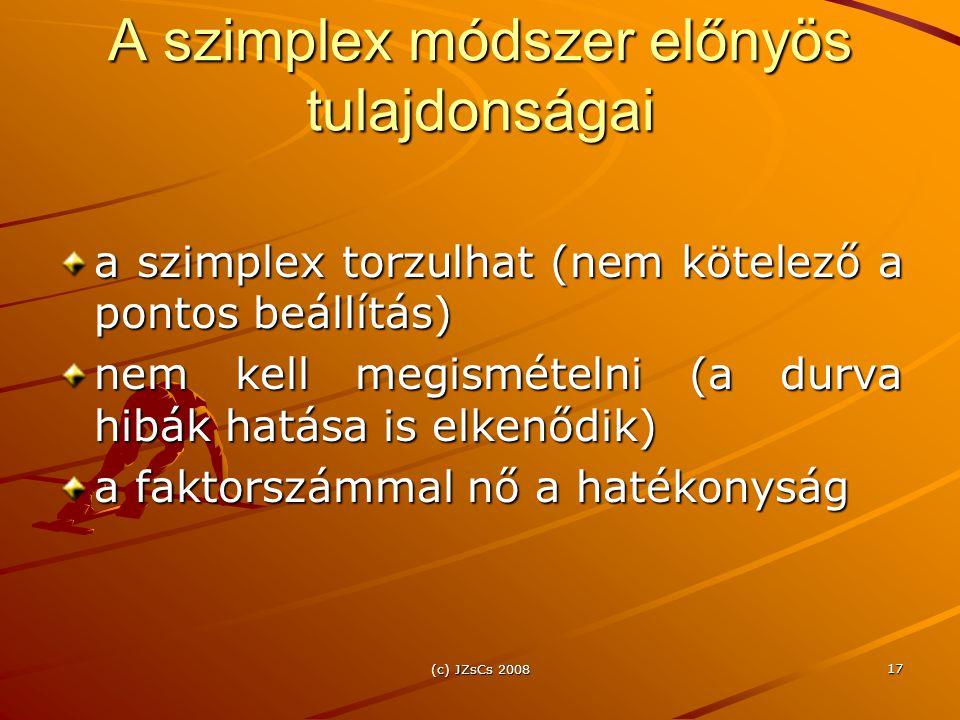 (c) JZsCs 2008 17 A szimplex módszer előnyös tulajdonságai a szimplex torzulhat (nem kötelező a pontos beállítás) nem kell megismételni (a durva hibák hatása is elkenődik) a faktorszámmal nő a hatékonyság