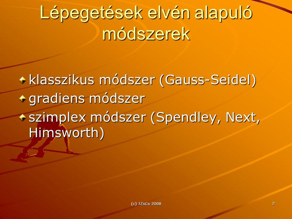 (c) JZsCs 2008 2 Lépegetések elvén alapuló módszerek klasszikus módszer (Gauss-Seidel) gradiens módszer szimplex módszer (Spendley, Next, Himsworth)