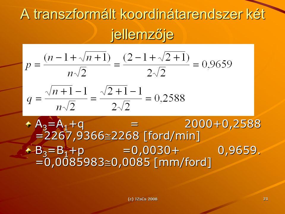 (c) JZsCs 2008 21 A transzformált koordinátarendszer két jellemzője A 3 =A 1 +q = 2000+0,2588 =2267,93662268 [ford/min] B 3 =B 1 +p =0,0030+ 0,9659.
