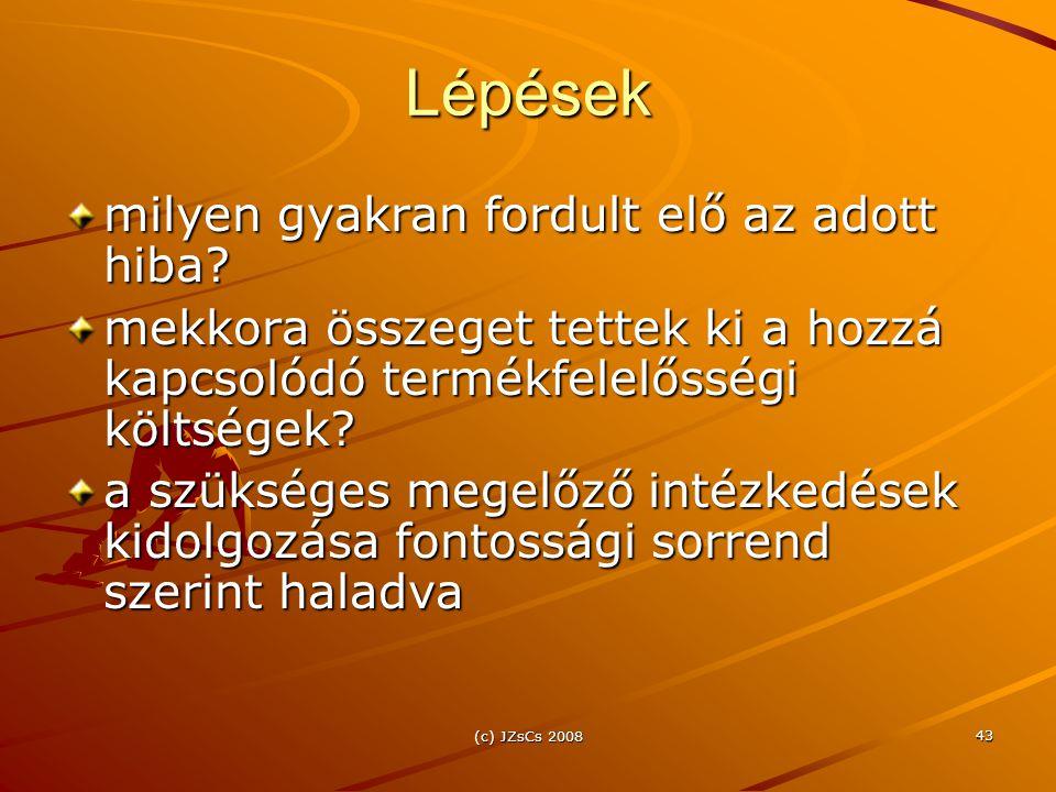 (c) JZsCs 2008 43 Lépések milyen gyakran fordult elő az adott hiba.