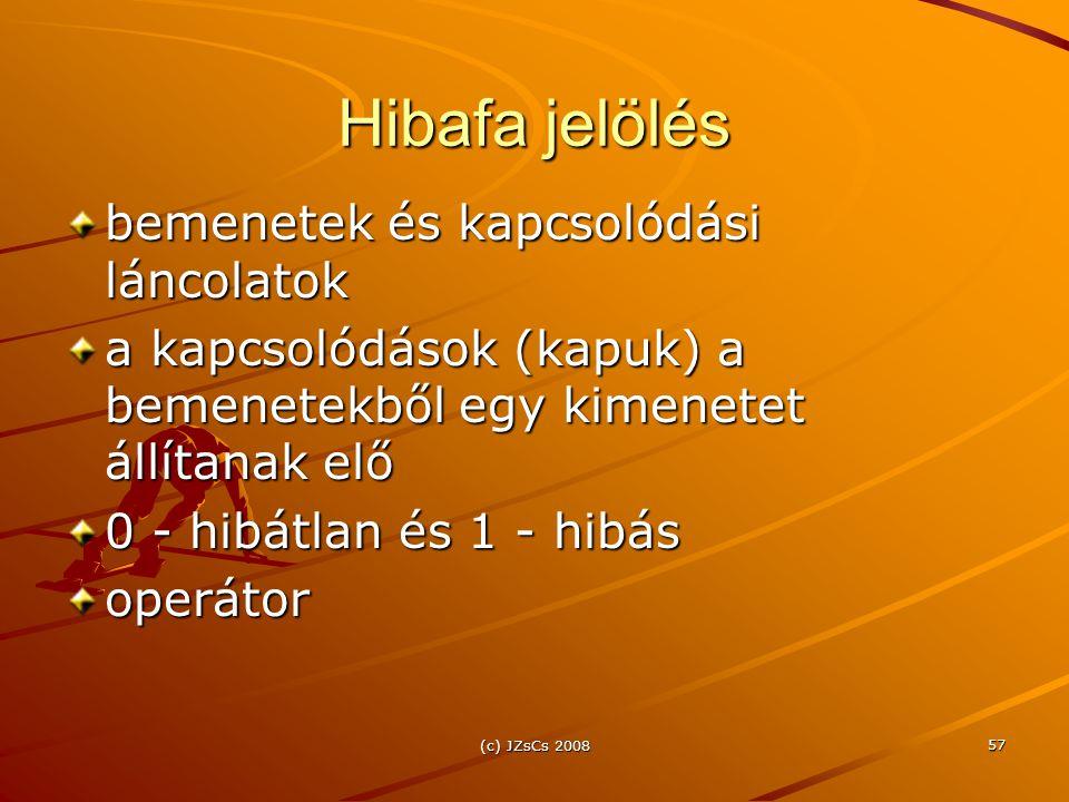 (c) JZsCs 2008 57 Hibafa jelölés bemenetek és kapcsolódási láncolatok a kapcsolódások (kapuk) a bemenetekből egy kimenetet állítanak elő 0 - hibátlan és 1 - hibás operátor