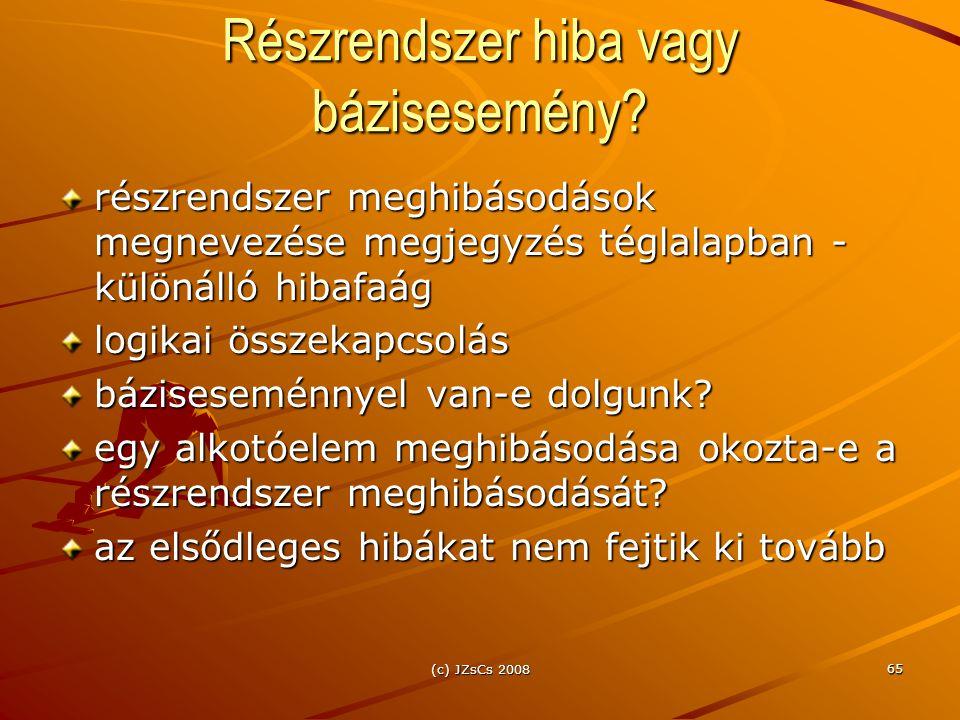 (c) JZsCs 2008 65 Részrendszer hiba vagy bázisesemény.
