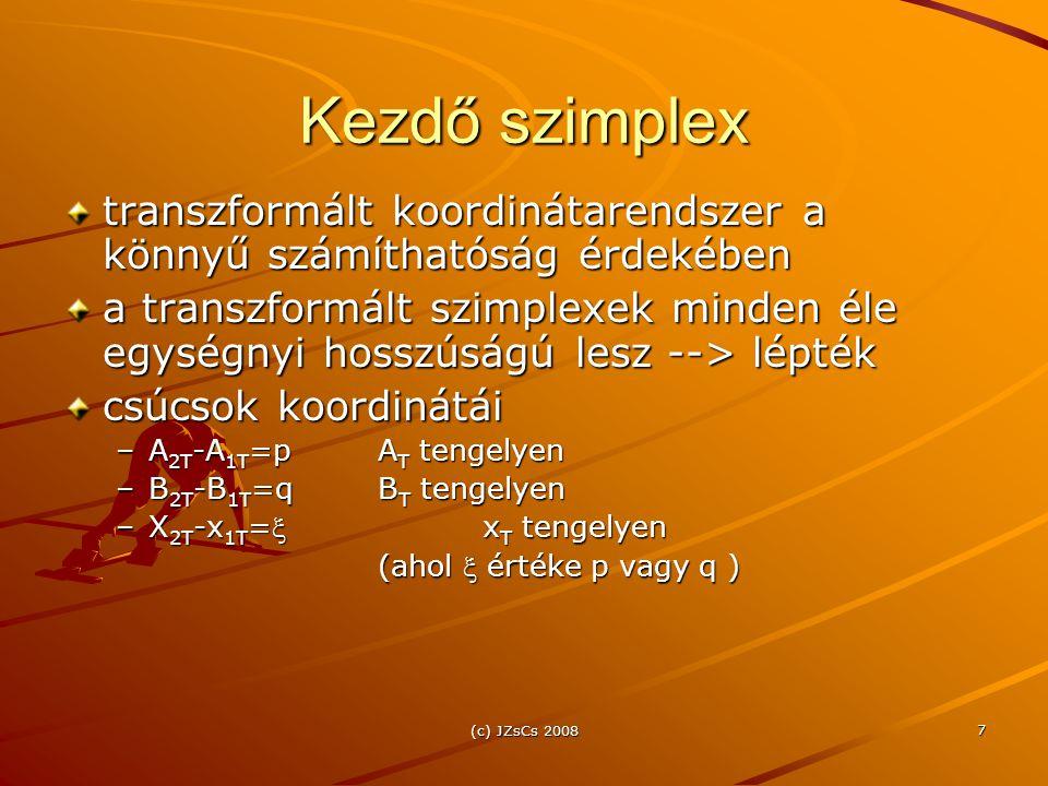 (c) JZsCs 2008 7 Kezdő szimplex transzformált koordinátarendszer a könnyű számíthatóság érdekében a transzformált szimplexek minden éle egységnyi hosszúságú lesz --> lépték csúcsok koordinátái –A 2T -A 1T =pA T tengelyen –B 2T -B 1T =qB T tengelyen –X 2T -x 1T =x T tengelyen (ahol  értéke p vagy q )