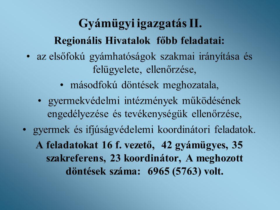 Gyámügyi igazgatás II. Regionális Hivatalok főbb feladatai: •az elsőfokú gyámhatóságok szakmai irányítása és felügyelete, ellenőrzése, •másodfokú dönt