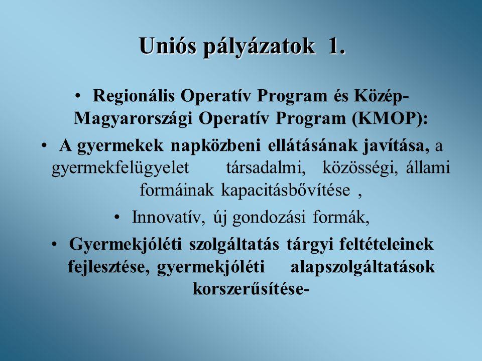 Uniós pályázatok 1. •Regionális Operatív Program és Közép- Magyarországi Operatív Program (KMOP): •A gyermekek napközbeni ellátásának javítása, a gyer