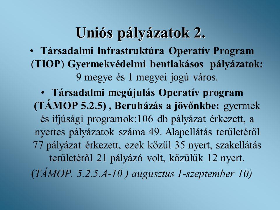 Uniós pályázatok 2. •Társadalmi Infrastruktúra Operatív Program (TIOP) Gyermekvédelmi bentlakásos pályázatok: 9 megye és 1 megyei jogú város. •Társada