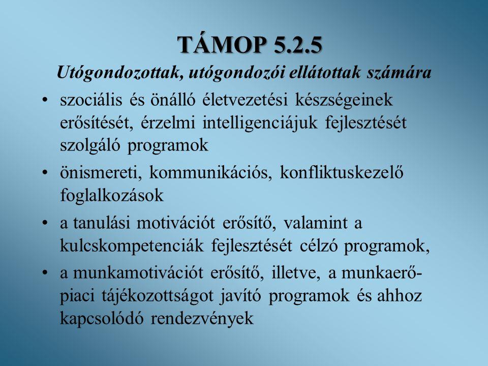 TÁMOP 5.2.5 Utógondozottak, utógondozói ellátottak számára •szociális és önálló életvezetési készségeinek erősítését, érzelmi intelligenciájuk fejlesz