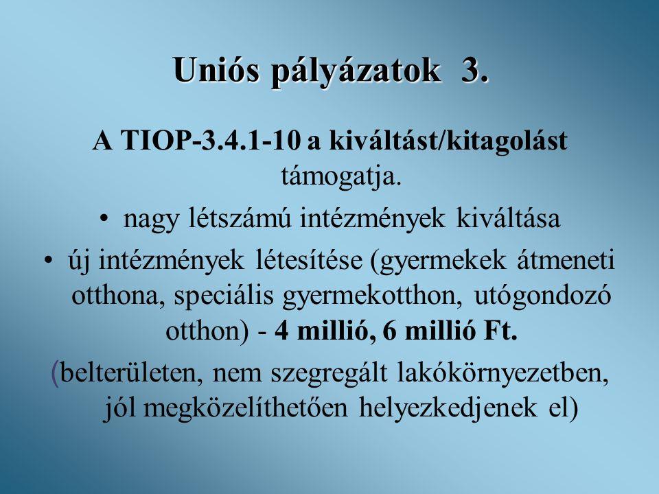 Uniós pályázatok 3. A TIOP-3.4.1-10 a kiváltást/kitagolást támogatja. •nagy létszámú intézmények kiváltása •új intézmények létesítése (gyermekek átmen