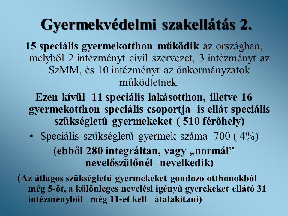Gyermekvédelmi szakellátás 2. 15 speciális gyermekotthon működik az országban, melyből 2 intézményt civil szervezet, 3 intézményt az SzMM, és 10 intéz