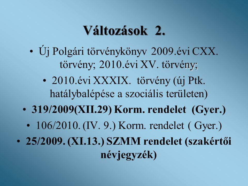 Változások 2. ny; •Új Polgári törvénykönyv 2009.évi CXX. törvény; 2010.évi XV. törvény; •2010.évi XXXIX. törvény (új Ptk. hatálybalépése a szociális t