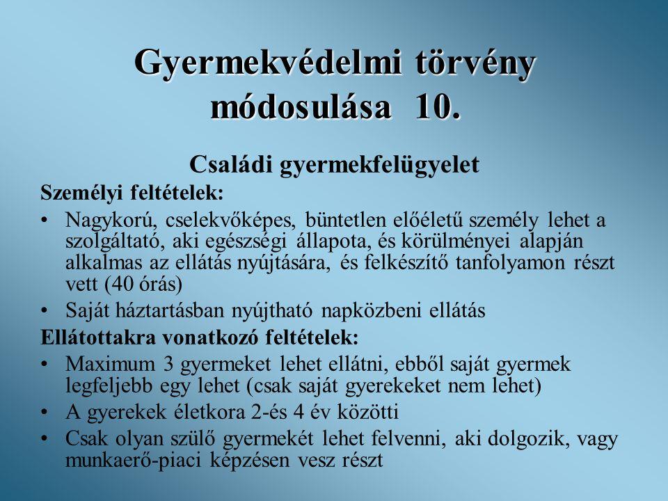 Gyermekvédelmi törvény módosulása 10. Családi gyermekfelügyelet Személyi feltételek: •Nagykorú, cselekvőképes, büntetlen előéletű személy lehet a szol