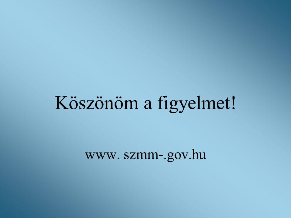 Köszönöm a figyelmet! www. szmm-.gov.hu