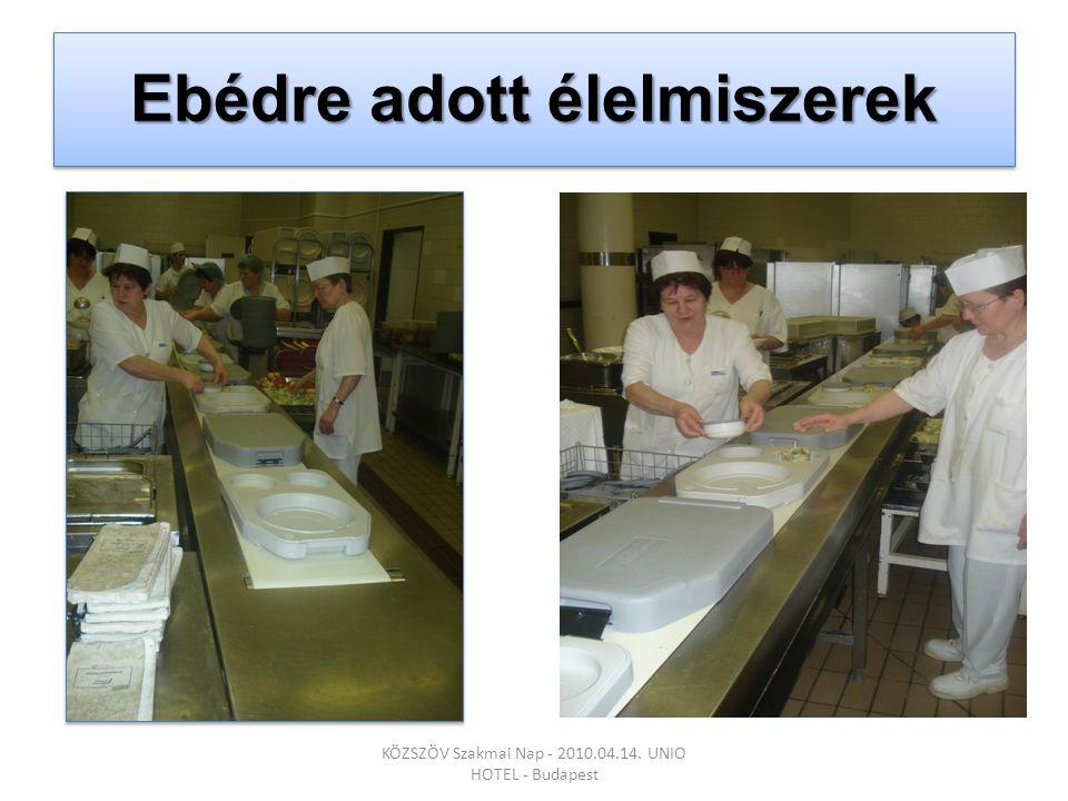 Ebédre adott élelmiszerek KÖZSZÖV Szakmai Nap - 2010.04.14. UNIO HOTEL - Budapest