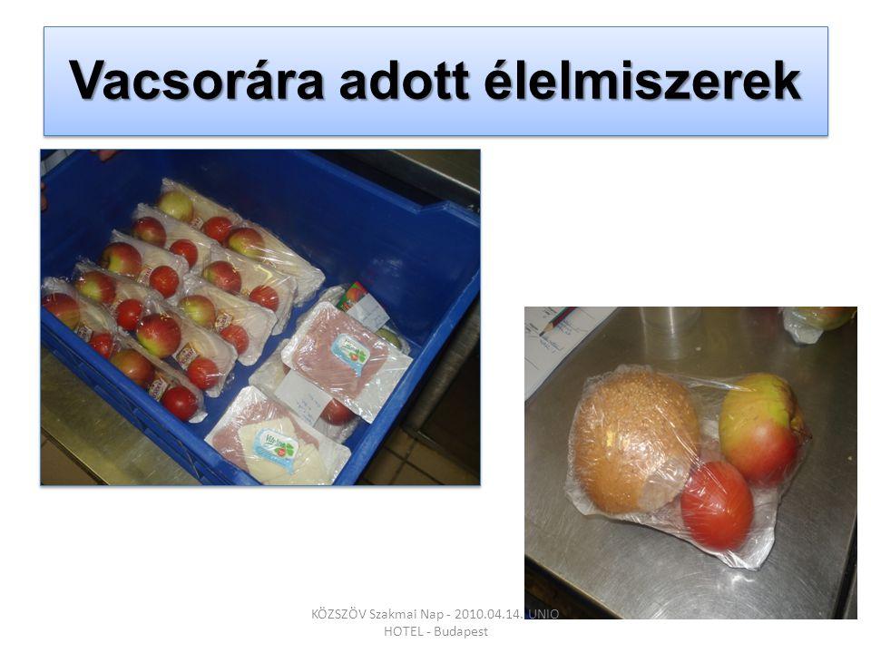 Vacsorára adott élelmiszerek KÖZSZÖV Szakmai Nap - 2010.04.14. UNIO HOTEL - Budapest